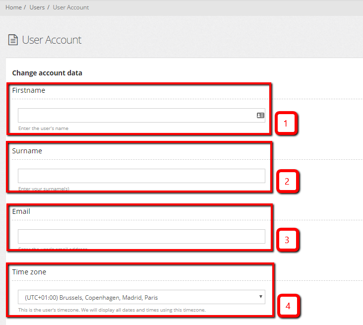 User account configure