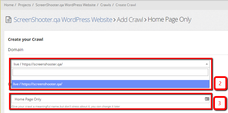create your crawl -domain and name